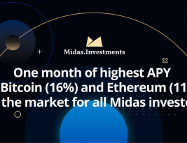 One month of highest APY on Bitcoin (16%) and Ethereum (11%) on the market for all Midas investors
